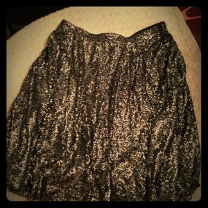 Black Sequined ALine Skirt